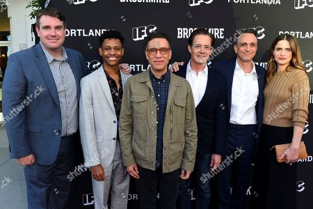 Joel Church-Cooper, Tyrel Jackson Williams, Fred Armisen, Kyle MacLachlan, Hank Azaria, Amanda Peet. Joel Church-Cooper, from left, Tyrel Jackson Williams, Fred Armisen, Kyle MacLachlan, Hank Azaria, and Amanda Peet attend the IFC FYC Brockmire & Portlandia panels at Saban Media Center at the Television Academy Wolf Theatre on in North Hollywood, Calif