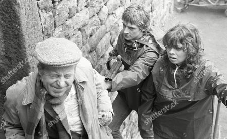 Stock Image of Ep 447 Tuesday 9th May 1978 The Woolpack robbers take further hostages - With Sam Pearson, as played by Toke Townley ; Steve Hawker, as played by Paul Rosebury; Pip Coulter, as played by Julie Dawn Cole.