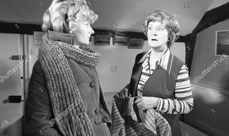 Ep 430 Thursday 2nd March 1978 Mrs Acaster is leaving in better circumstances than when she arrived in Beckindale. She summons Dolly to the back room in the pub to have a private goodbye session, where even a tear or two is shed - With Dolly Acaster, as played by Katharine Barker ; Mrs Acaster, as played by Jean Heywood.