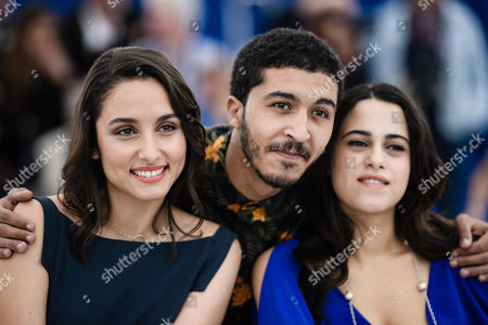 Portuguese actress Sarah Perles(L),  Moroccan actress Maha Alemi (R) and Moroccan actor Khafif Hamza  poses during the photocall for 'Sofia' at the 71st annual Cannes Film Festival, in Cannes, France, 16 May 2018. The movie is presented in the section Un Certain Regard of the festival which runs from 08 to 19 May.