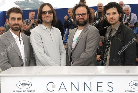 Mike Gioulakis, David Robert Mitchell, Julio Perez, Rich Vreeland. Director of Photography Mike Gioulakis, from left, director David Robert Mitchell, film editor Julio Perez IV and composer Rich Vreeland pose for photographers during a photo call for the film 'Under The Silver Lake' at the 71st international film festival, Cannes, southern France