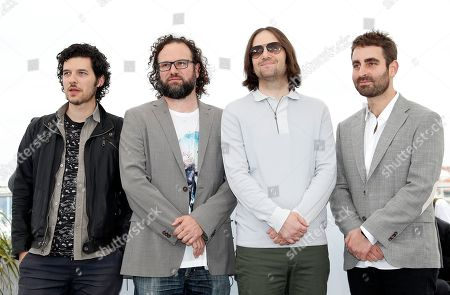(L-R) Composer Rich Vreeland, film editor Julio Perez IV, director David Robert Mitchell and cinematographer Mike Gioulakis pose during the photocall for 'Under the Silver Lake' at the 71st annual Cannes Film Festival, in Cannes, France, 16 May 2018. The movie is presented in the Official Competition of the festival which runs from 08 to 19 May.