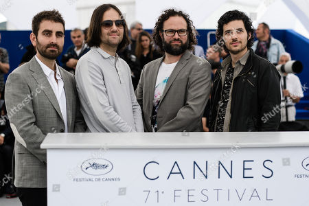 (R-L) Composer Rich Vreeland, film editor Julio Perez IV, director David Robert Mitchell and cinematographer Mike Gioulakis pose during the photocall for 'Under the Silver Lake' at the 71st annual Cannes Film Festival, in Cannes, France, 16 May 2018. The movie is presented in the Official Competition of the festival which runs from 08 to 19 May.