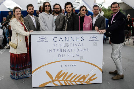 Composer Rich Vreeland, film editor Julio Perez IV, director David Robert Mitchell,  cinematographer Mike Gioulakis along with other crew members pose during the photocall for 'Under the Silver Lake' at the 71st annual Cannes Film Festival, in Cannes, France, 16 May 2018. The movie is presented in the Official Competition of the festival which runs from 08 to 19 May.