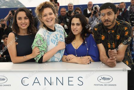 Stock Picture of Sarah Perles, Meryem Benm'Barek-Aloisi, Maha Alemi, Khafif Hamza. Actress Sarah Perles, from left, director Meryem Benm'Barek-Aloisi, actors Maha Alemi and Khafif Hamza pose for photographers during a photo call for the film 'Sofia' at the 71st international film festival, Cannes, southern France