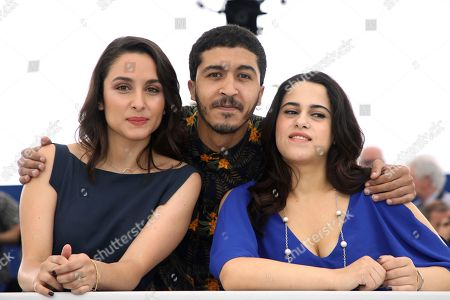 Sarah Perles, Khafif Hamza Maha Alemi. Actors Sarah Perles, from left, Khafif Hamza and Maha Alemi pose for photographers during a photo call for the film 'Sofia' at the 71st international film festival, Cannes, southern France