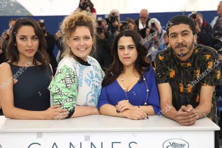 Sarah Perles, Meryem Benm'Barek-Aloisi, Maha Alemi, Khafif Hamza. Actress Sarah Perles, from left, director Meryem Benm'Barek-Aloisi, actors Maha Alemi and Khafif Hamza pose for photographers during a photo call for the film 'Sofia' at the 71st international film festival, Cannes, southern France