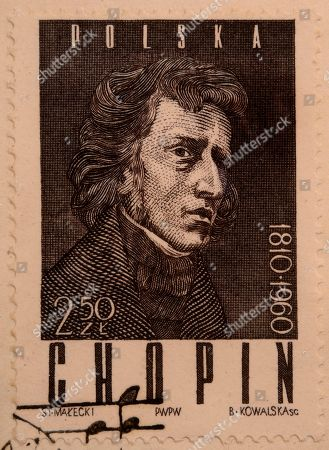 Frederic Chopin, a Polish composer and virtuoso pianist, portrait on a Polish stamp