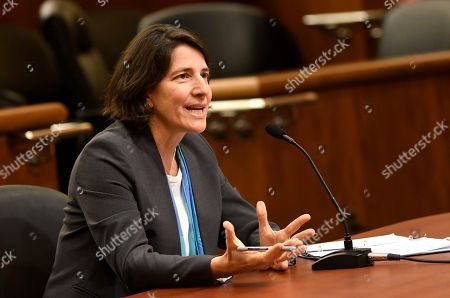 Legislative leaders interview Nicole Gueron for the Office of New York Attorney General after former Attorney General Eric Schneiderman resigned amid domestic abuse allegations, in Albany, N.Y