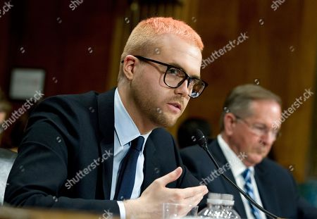 Christopher Wylie testifies during a hearing before the Senate Judiciary Committee on Cambridge Analytica at Capitol Hill, in Washington
