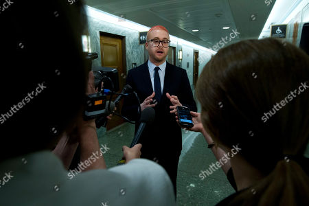 Christopher Wylie speaks with reporters after he testify before the Senate Judiciary Committee on Cambridge Analytica at Capitol Hill, in Washington