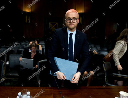 Christopher Wylie leave his sit after he testify before the Senate Judiciary Committee on Cambridge Analytica at Capitol Hill, in Washington