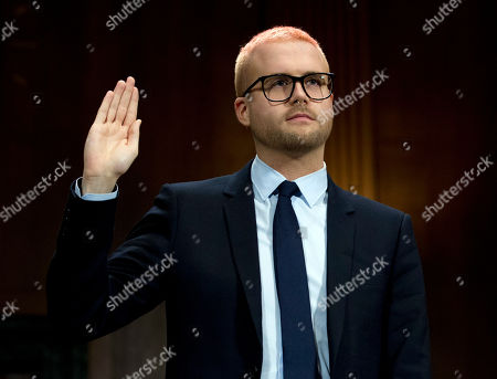 Christopher Wylie is sworn in before he testifies before the Senate Judiciary Committee on Cambridge Analytica at Capitol Hill, in Washington