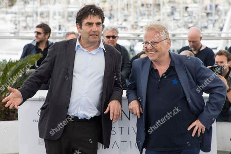 Daniel Cohn-Bendit, Romain Goupil. Politician Daniel Cohn-Bendit, right, and director Romain Goupil pose for photographers during a photo call for the film 'On the Road in France' at the 71st international film festival, Cannes, southern France