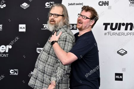"""Dan Harmon, Justin Roiland. Rick and Morty"""" creators Dan Harmon, left, and Justin Roiland attend the Turner Networks 2018 Upfront at One Penn Plaza, in New York"""