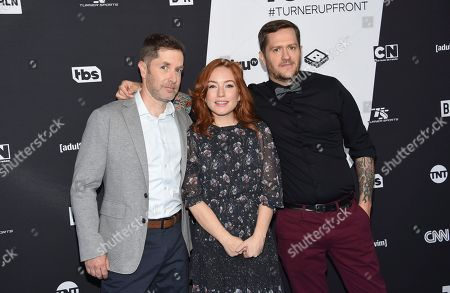 "Andrew Orvedahl, Maria Thayer, Ben Roy. Those Who Can't"" cast members, from left, Andrew Orvedahl, Maria Thayer and Ben Roy pose together at the Turner Networks 2018 Upfront at One Penn Plaza, in New York"