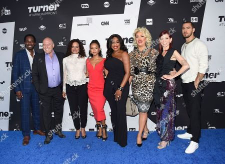 """Harold Perrineau, Dean Norris, Judy Reyes, Karrueche Tran, Niecy Nash, Jenn Lyon, Carrie Preston, Jack Kesy. Claws"""" cast members, from left, Harold Perrineau, Dean Norris, Judy Reyes, Karrueche Tran, Niecy Nash, Jenn Lyon, Carrie Preston and Jack Kesy pose together at the Turner Networks 2018 Upfront at One Penn Plaza, in New York"""