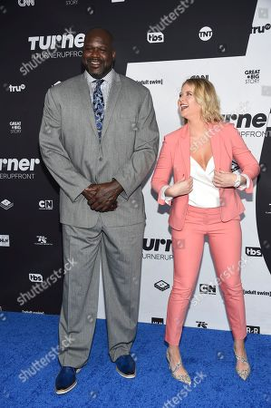 Shaquille O'Neal, Kristen Ledlow. Turner Sports hosts Shaquille O'Neal, left, and Kristen Ledlow pose together at the Turner Networks 2018 Upfront at One Penn Plaza, in New York