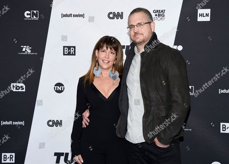 Patty Jenkins, Sam Sheridan. Director Patty Jenkins, left, and Sam Sheridan attend the Turner Networks 2018 Upfront at One Penn Plaza, in New York