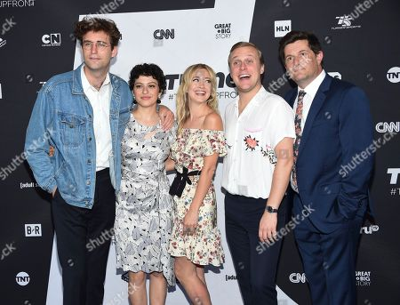 """John Reynolds, Alia Shawkat, Meredith Hagner, John Early, Michael Showalter. Search Party"""" cast members, from left, John Reynolds, Alia Shawkat, Meredith Hagner, John Early and Michael Showalter pose together at the Turner Networks 2018 Upfront at One Penn Plaza, in New York"""