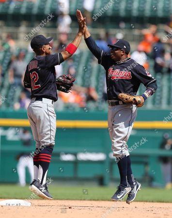 Francisco Lindor, Rajai Davis. Cleveland Indians shortstop Francisco Lindor (12) and center fielder Rajai Davis celebrate the team's 6-0 win over the Detroit Tigers after a baseball game, in Detroit