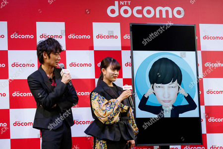 Japanese actors Go Ayano and Mitsuki Takahata, interact with DOMOCO's Artificial Intelligence (AI) personal assistant ''my daiz''