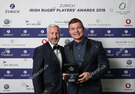 BNY Mellon Hall of Fame Induction. Brian O'Driscoll is presented with his award by Joe Duffy (Head of Global Client Management, EMEA and Ireland Country Executive, BNY Mellon)