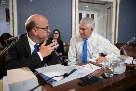 James P. McGovern, Pete Sessions. Rep. James P. McGovern, D-Mass, left, the top Democrat on the House Rules Committee, confers with Chairman Pete Sessions, R-Texas, as the House Rules Committee meets to consider amendments to the Agriculture and Nutrition Act of 2018, commonly known as the farm bill, on Capitol Hill in Washington