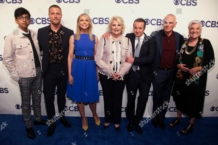 Nik Dodani, Jake McDorman, Faith Ford, Candice Bergen, Grant Shaud, Joe Regalbuto, Tyne Daly. Nik Dodani, from left, Jake McDorman, Faith Ford, Candice Bergen, Grant Shaud, Joe Regalbuto and Tyne Daly attend the CBS Network 2018 Upfront at The Plaza Hotel, in New York