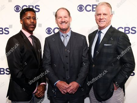 Nate Burleson, Bill Cowher, Boomer Esiason. Nate Burleson, from left, Bill Cowher and Boomer Esiason attend the CBS Network 2018 Upfront at The Plaza Hotel, in New York