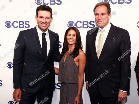 Tony Romo, Tracy Wolfson, Jim Nantz. Tony Romo, from left, Tracy Wolfson and Jim Nantz attend the CBS Network 2018 Upfront at The Plaza Hotel, in New York