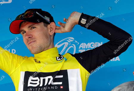Tejay Van Garderen celebrates on the podium after winning Stage 4, the individual time trial, of the Tour of California cycling race, in Morgan Hill, Calif