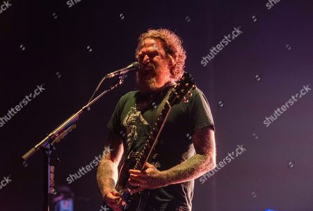 Brent Hinds, of Mastodon, performs on stage at the Fox Theatre, on Wednesday, May, 16th, 2018, in Atlanta