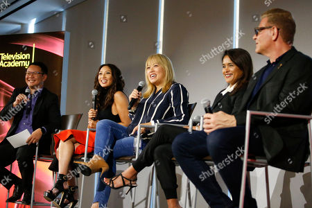 """Miguel Santos, Jeannie Mai, Kulap Vilaysack, Veena Sud, Howard Meltzer. From left to right, Miguel Santos, General Manager and Executive Producer, Myx TV, Jeannie Mai, Host of the Real, Kulap Vilaysack, Director/Showrunner, Veena Sud, Showrunner/Writer, Howard Meltzer, CSA, participate in a provocative discussion, """"The State of Asian American Representation in Hollywood,"""" presented by the Television Academy, ATX TV Festival and Power to Decide on at the Television Academy's Saban Media Center in North Hollywood, Calif"""