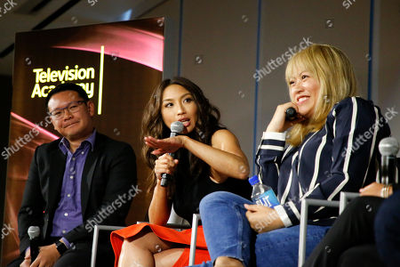 """Miguel Santos, Jeannie Mai, Kulap Vilaysack. From left to right, Miguel Santos, General Manager and Executive Producer, Myx TV, Jeannie Mai, Host of the Real, and Kulap Vilaysack, Director/Showrunner, participate in a provocative discussion, """"The State of Asian American Representation in Hollywood,"""" presented by the Television Academy, ATX TV Festival and Power to Decide on at the Television Academy's Saban Media Center in North Hollywood, Calif"""