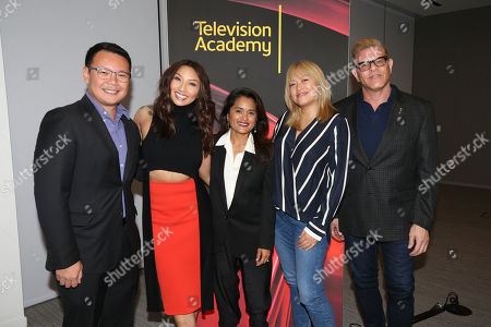 """Miguel Santos, Jeannie Mai, Veena Sud, Kulap Vilaysack, Howard Meltzer. From left to right, Miguel Santos, General Manager and Executive Producer, Myx TV, Jeannie Mai, Host of the Real, Veena Sud, Showrunner/Writer, Kulap Vilaysack, Director/Showrunner, and Howard Meltzer, CSA, pose after a provocative discussion, """"The State of Asian American Representation in Hollywood,"""" presented by the Television Academy, ATX TV Festival and Power to Decide on at the Television Academy's Saban Media Center in North Hollywood, Calif"""