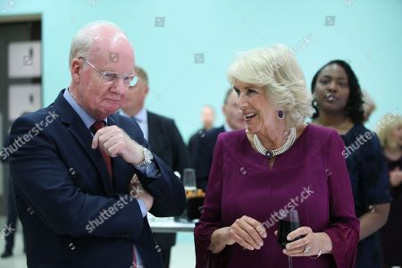 Chairman Murdoch MacLennan with Camilla Duchess of Cornwall during an event to celebrate the 150th anniversary of the Press Association, at the Tate Britain in London.