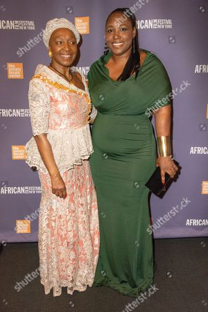 "Stock Photo of Apolline Traore, award-winning writer and director of the opening night film ""Borders"" with Mahen Bonetti, Founder of the New York African Film Festival"