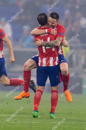 Gabi Fernandez Arenas of Atletico de Madrid and Saul Niguez Esclapez of Atletico de Madrid