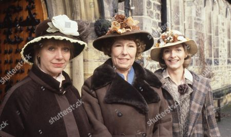 Ep 520 Thursday 19th April 1979 The village gather for the Easter service at the church - With Dolly Acaster, as played by Katharine Barker ; Annie Sugden as played by Sheila Mercier ; Kitty Lennard, as played by Katherine Iddon.