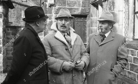 Stock Photo of Ep 520 Thursday 19th April 1979 The village gather for the Easter service at the church - With Henry Wilks, as played by Arthur Pentelow ; Maurice Westrop, as played by Edward Dentith ; Amos Brearly, as played by Ronald Magill.