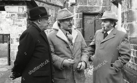 Ep 520 Thursday 19th April 1979 The village gather for the Easter service at the church - With Henry Wilks, as played by Arthur Pentelow ; Maurice Westrop, as played by Edward Dentith ; Amos Brearly, as played by Ronald Magill.