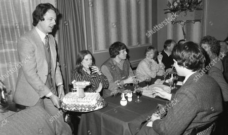 The cast of Emmerdale Farm 1979 celebrate the filming of episode 500 - With Amos Brearly, as played by Ronald Magill ; Rev Donald Hinton, as played by Hugh Manning ; Dolly Acaster, as played by Katharine Barker ; Henry Wilks, as played by Arthur Pentelow ; Matt Skilbeck, as played by Frederick Pyne ; Annie Sugden as played by Sheila Mercier ; Joe Sugden, as played by Frazer Hines.