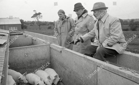 Stock Picture of Ep 496 Thursday 25th January 1979 Matt goes to York with Maurice and Henry to look at the piggery - With Henry Wilks, as played by Arthur Pentelow ; Matt Skilbeck, as played by Frederick Pyne ; Maurice Westrop, as played by Edward Dentith.