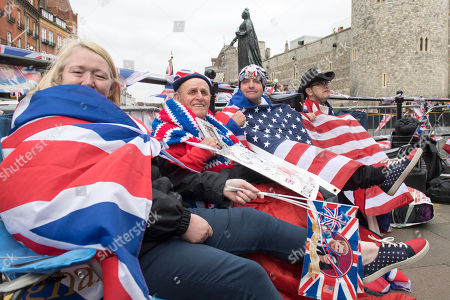 Royal fans Maria Scott, Terry Hutt, John Loughrey and Sky London sitting out ready for the royal wedding of Prince Harry and Meghan on Saturday at Windsor Castle