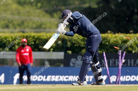 Tom Barber is bowled by Ravi Bopara during Middlesex vs Essex Eagles, Royal London One-Day Cup Cricket at Radlett Cricket Club on 17th May 2018