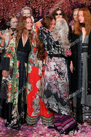 Designer Camilla Franks (C) is congratulated by models following her show during Mercedes-Benz Fashion Week Australia in Sydney, Australia, 17 May 2018. The event runs from 13 to 18 May.
