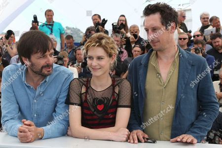 Ulrich Kohler, Elena Radonicich, Hans Low. Director Ulrich Kohler, from left, actors Elena Radonicich, and Hans Low pose for photographers during a photo call for the film 'In My Room' at the 71st international film festival, Cannes, southern France