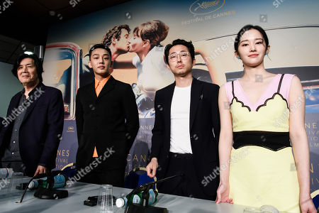 Stock Picture of (L-R) South Korean director Lee Chang-Dong, South Korean actor Yoo Ah-In, South Korean actor Yeun Steven and South Korean actress Jun Jong-Seo attend the press conference for 'Burning' during the 71st annual Cannes Film Festival, in Cannes, France, 17 May 2018. The movie is presented in the Official Competition of the festival which runs from 08 to 19 May.