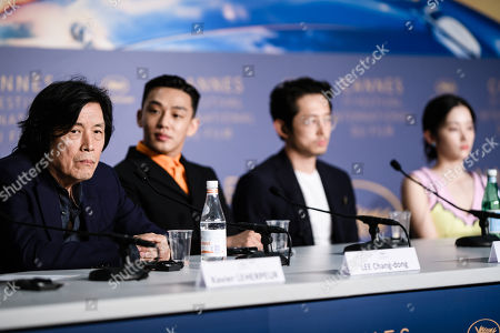 South Korean director Lee Chang-Dong (L) attends the press conference for 'Burning' during the 71st annual Cannes Film Festival, in Cannes, France, 17 May 2018. The movie is presented in the Official Competition of the festival which runs from 08 to 19 May.